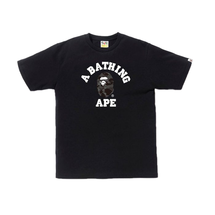 A Bathing Ape Color Camo College Tee - Black/Black - Used