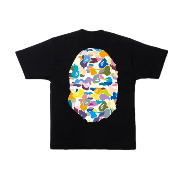 A Bathing Ape Multi Camo Big Ape Head Tee - Black