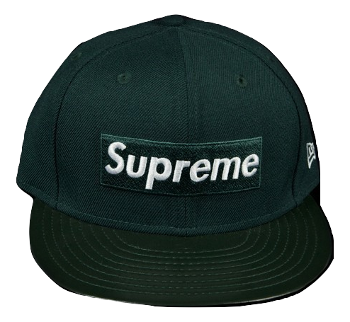 Supreme New Era Box Logo Leather Visor Cap - Green