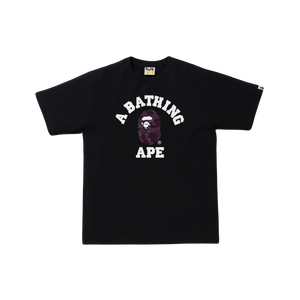 A Bathing Ape Color Camo College Tee - Black/Burgundy
