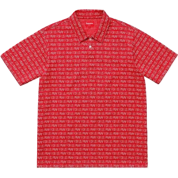 Supreme Pray For Us Jacquard Polo - Red - Used