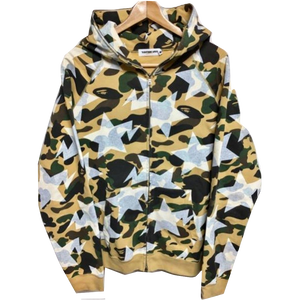 A Bathing Ape Yellow Camo Bapesta Hoodie – grails sf 4b8e63ff0