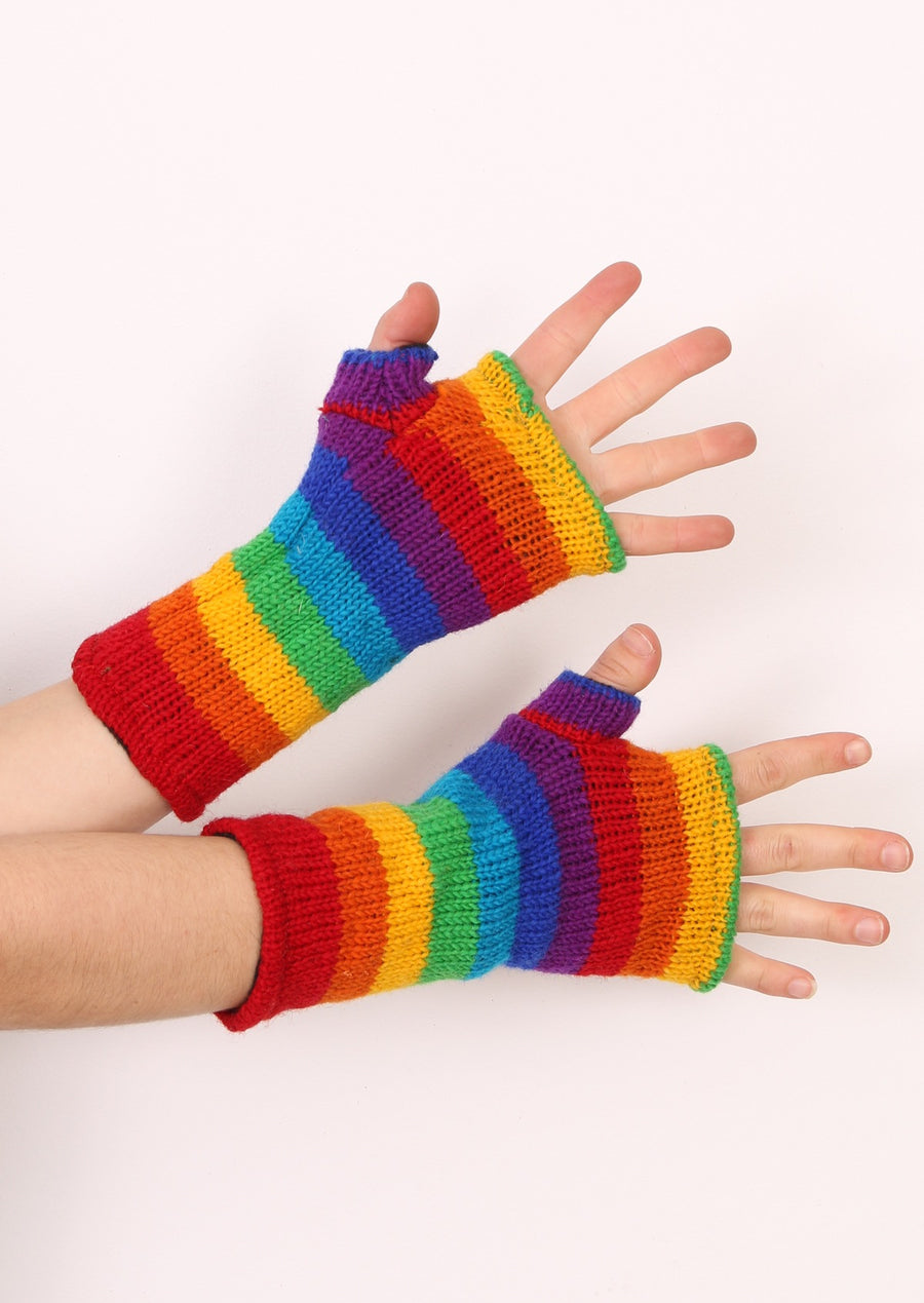 Wrist Warmers Rainbow Knit