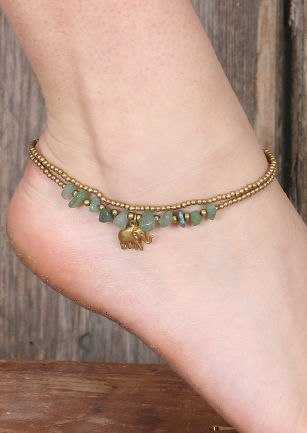 Elephant Anklet Green