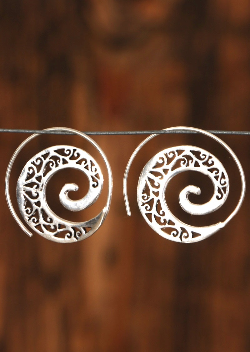 Filigree White Metal Spiral Earrings