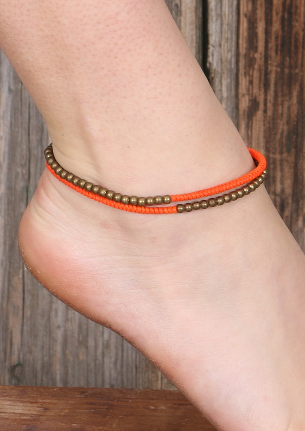 Fluro and Brass Anklet