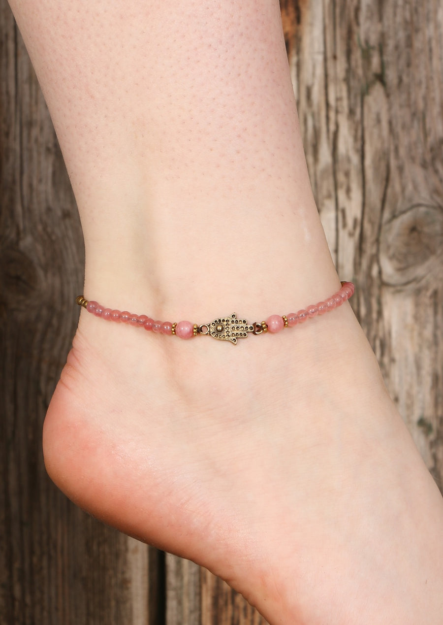 Hand of Fatima Anklet Pink