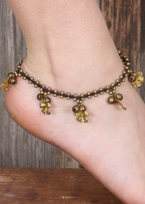 Brass Detail Flower Anklet