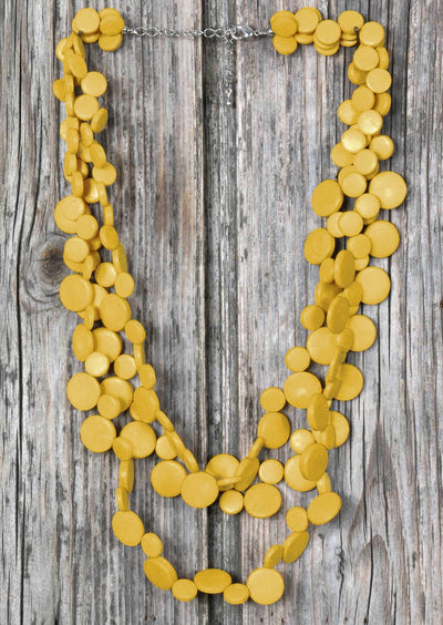Smarties Three Strand Necklace Yellow