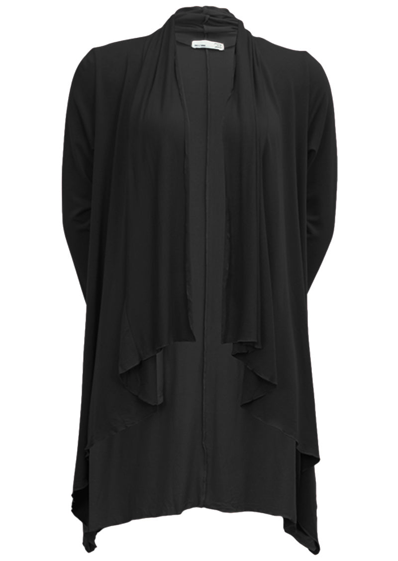Irregular Hem Stretch Cardi Black