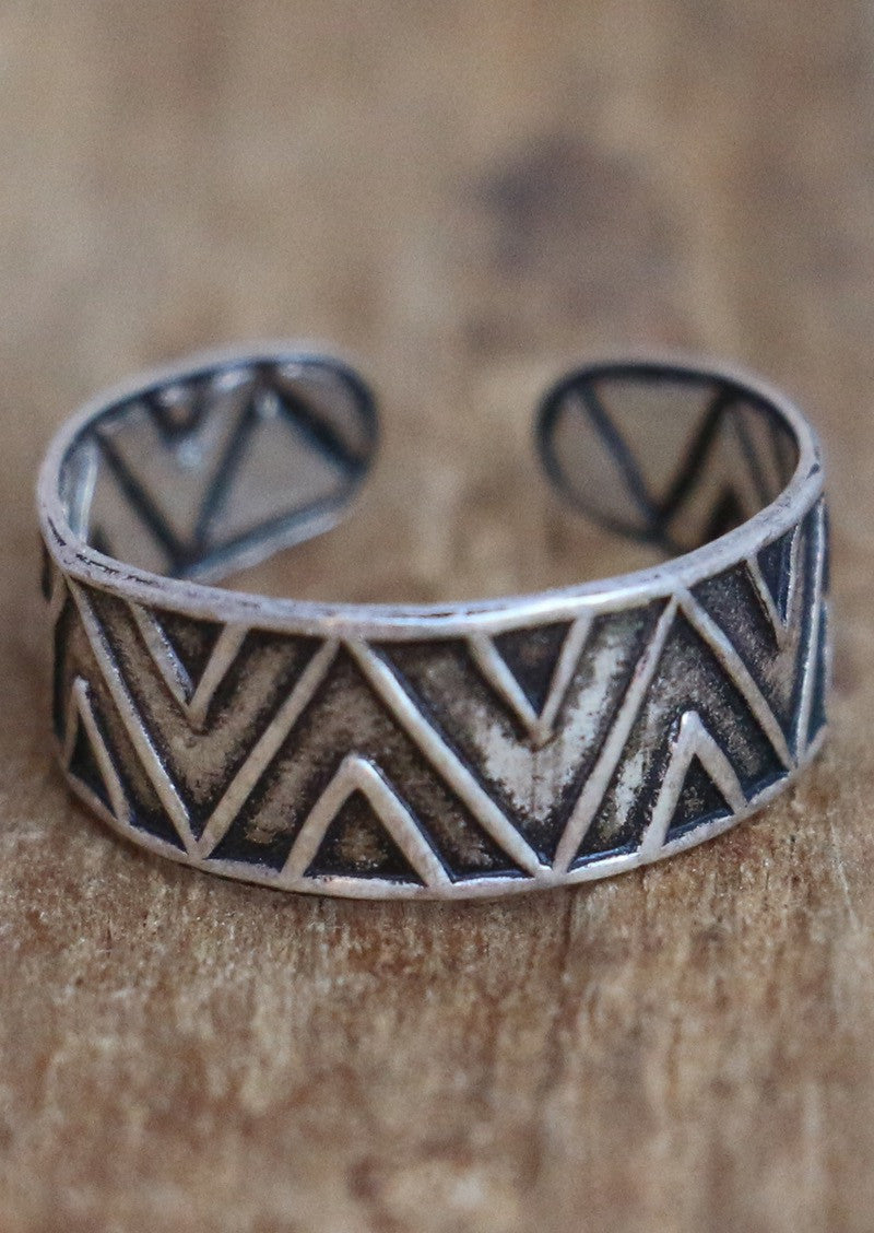 Silver Aztec Toe Ring