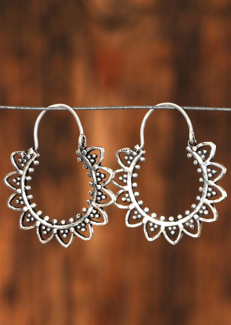 Sunflower White Metal Earrings