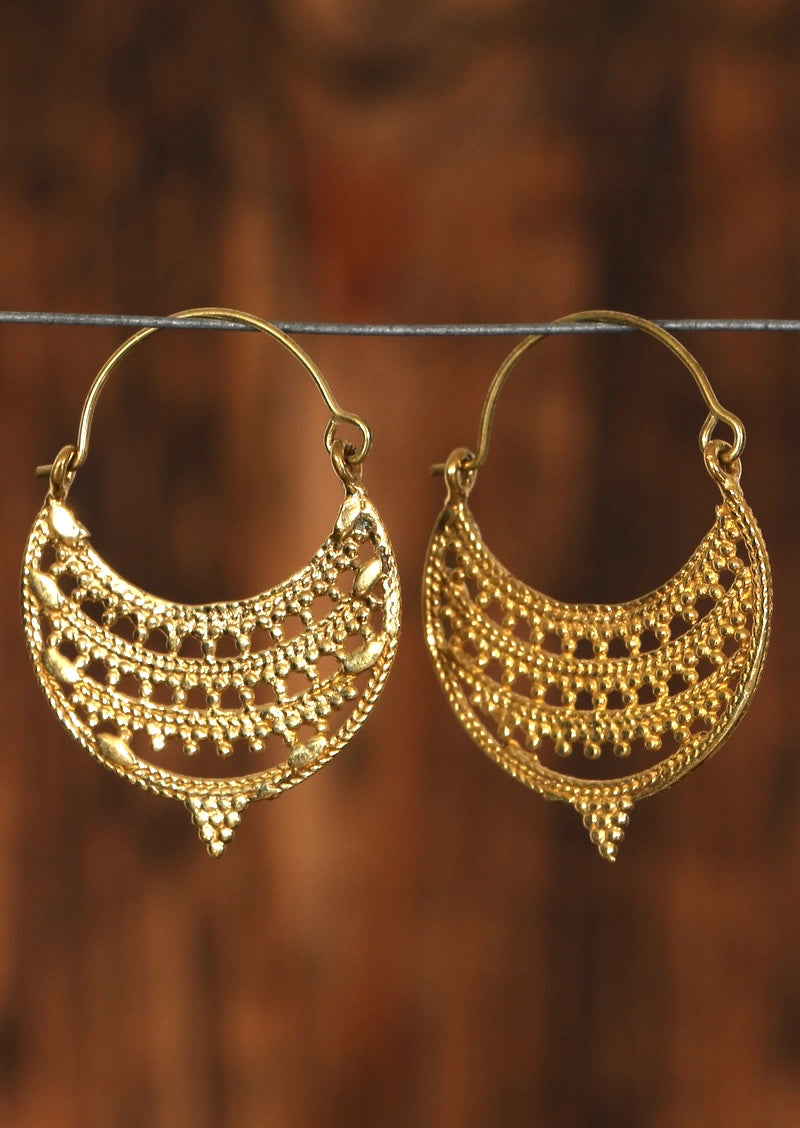 Shiva Brass Hoops Earrings