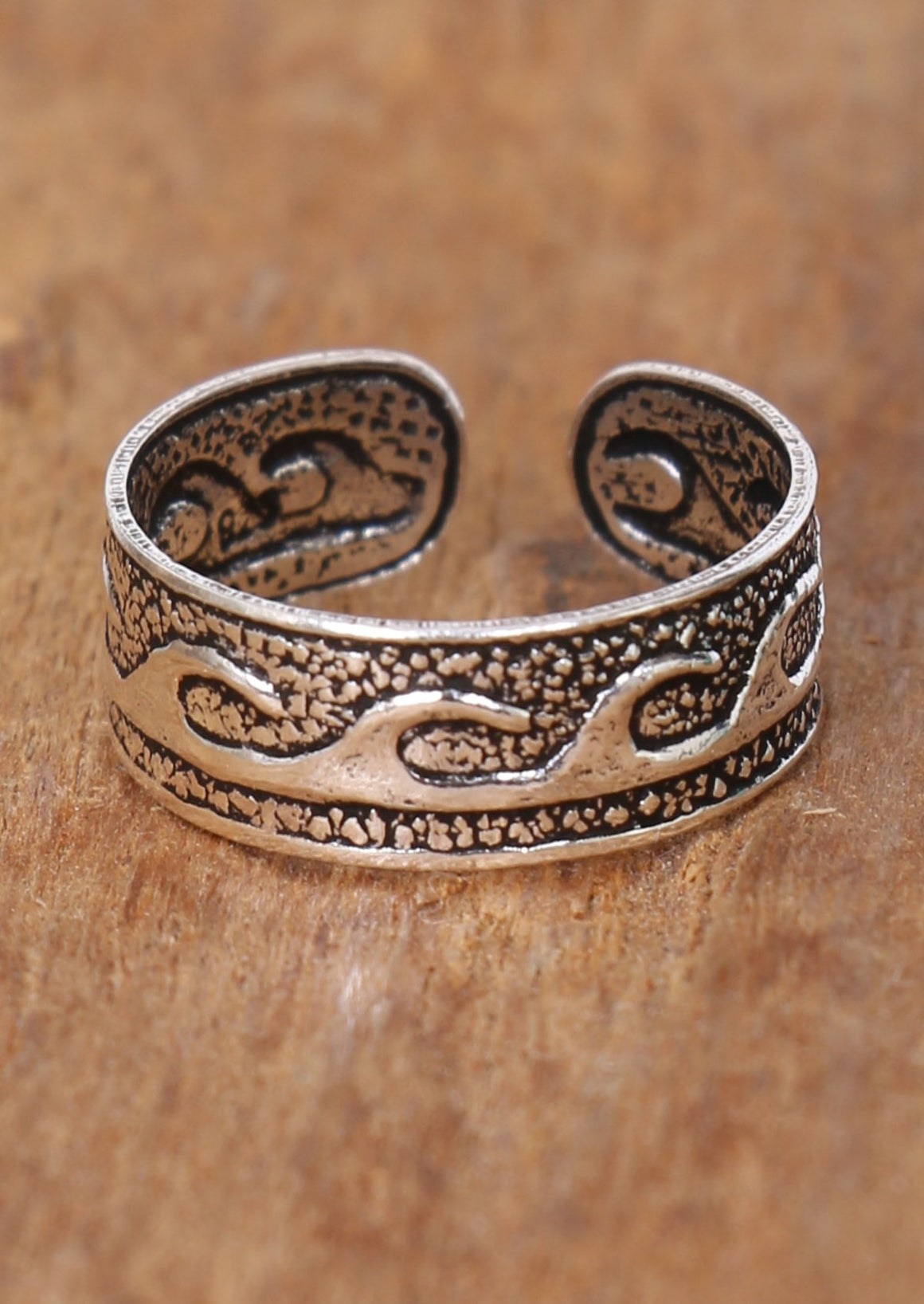 Silver Waves Toe Ring