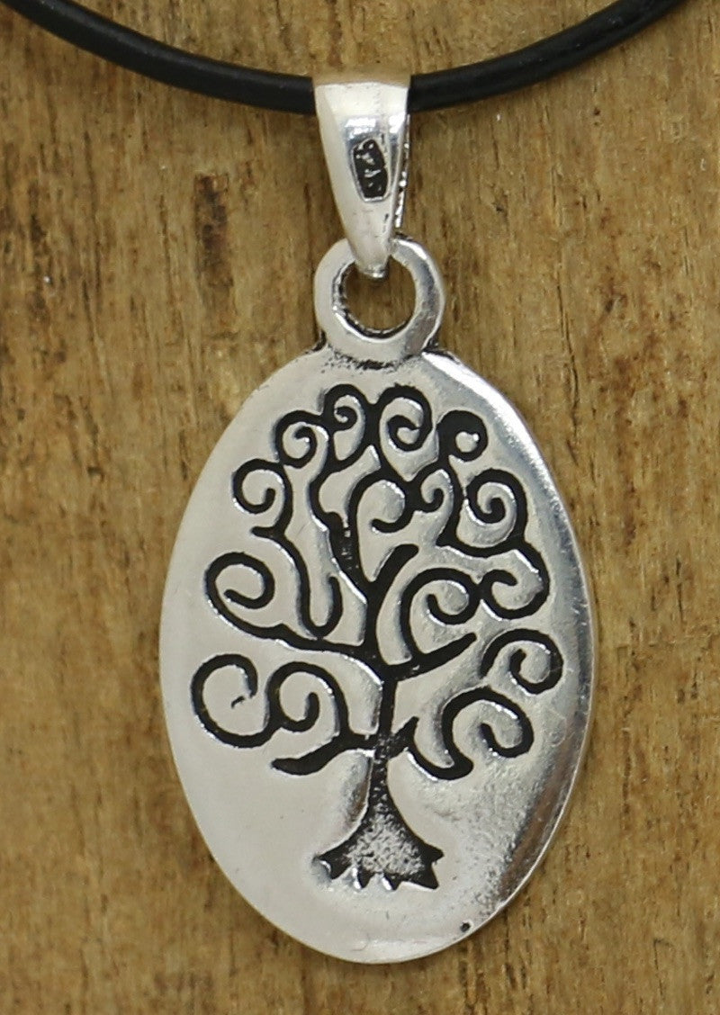 Silver Engraved Tree Pendant