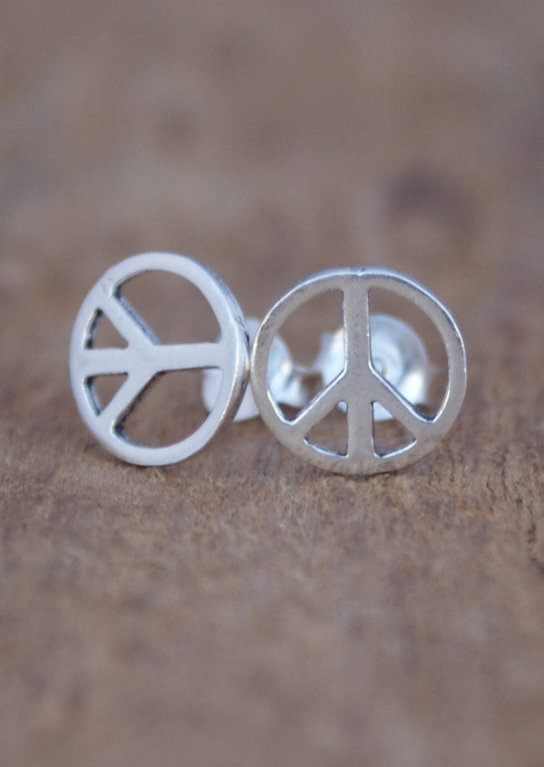Large Peace Symbol Stud