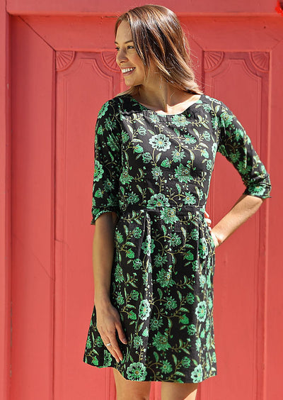 Danika Dress Lime Swirls