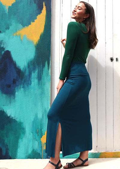 Long Stretch Skirt Teal