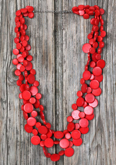 Smarties Three Strand Necklace Red
