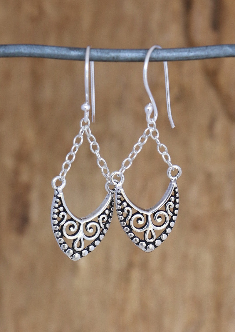 Filigree Chain Drop Earrings