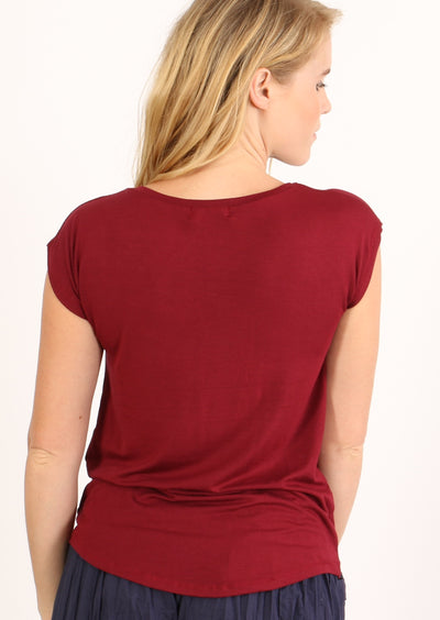 Simple Top V-neck Maroon
