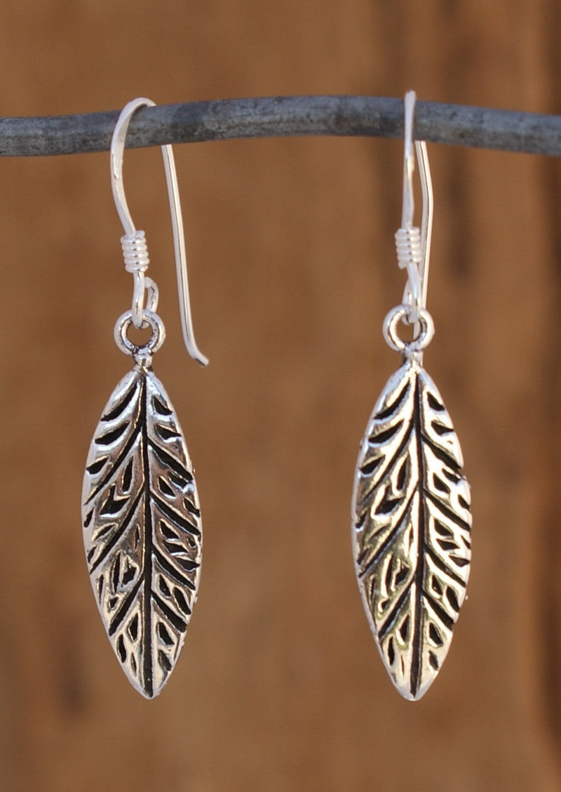 Stirling Silver Boho Leaf Feather Earrings 92.5