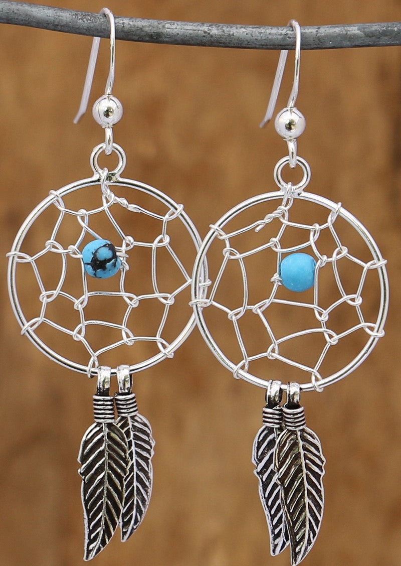 Dreamcatcher Turquoise Feather Stirling Silver Earring 92.5