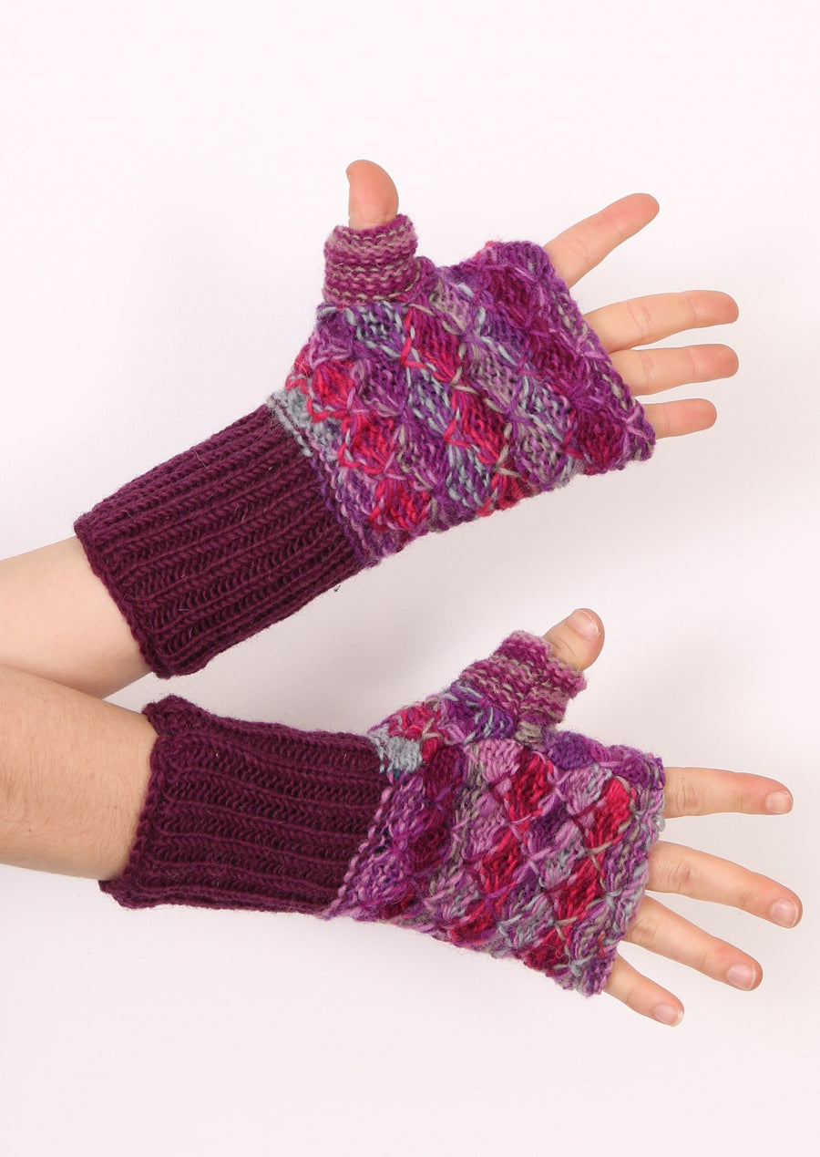 Cuffed Knit Wrist Warmers Purple