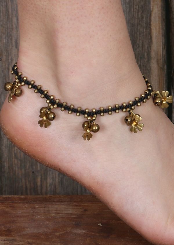 Brass Simple Flower Anklet