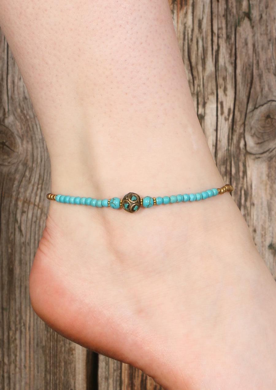 Tibetan Brass Anklet Turquoise