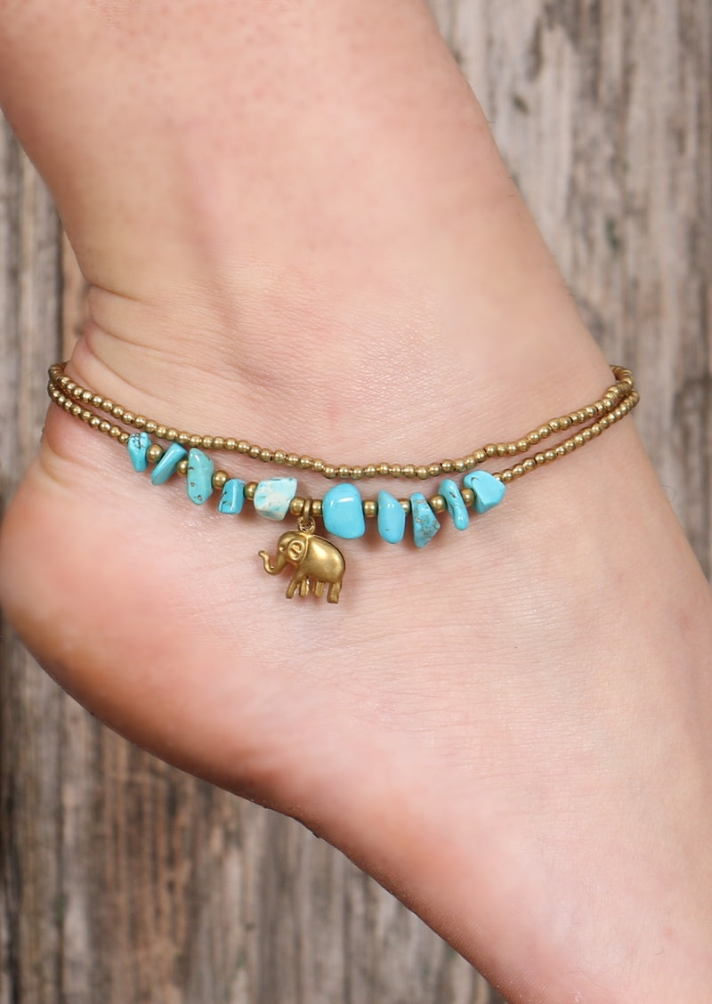 Elephant Anklet Turquoise