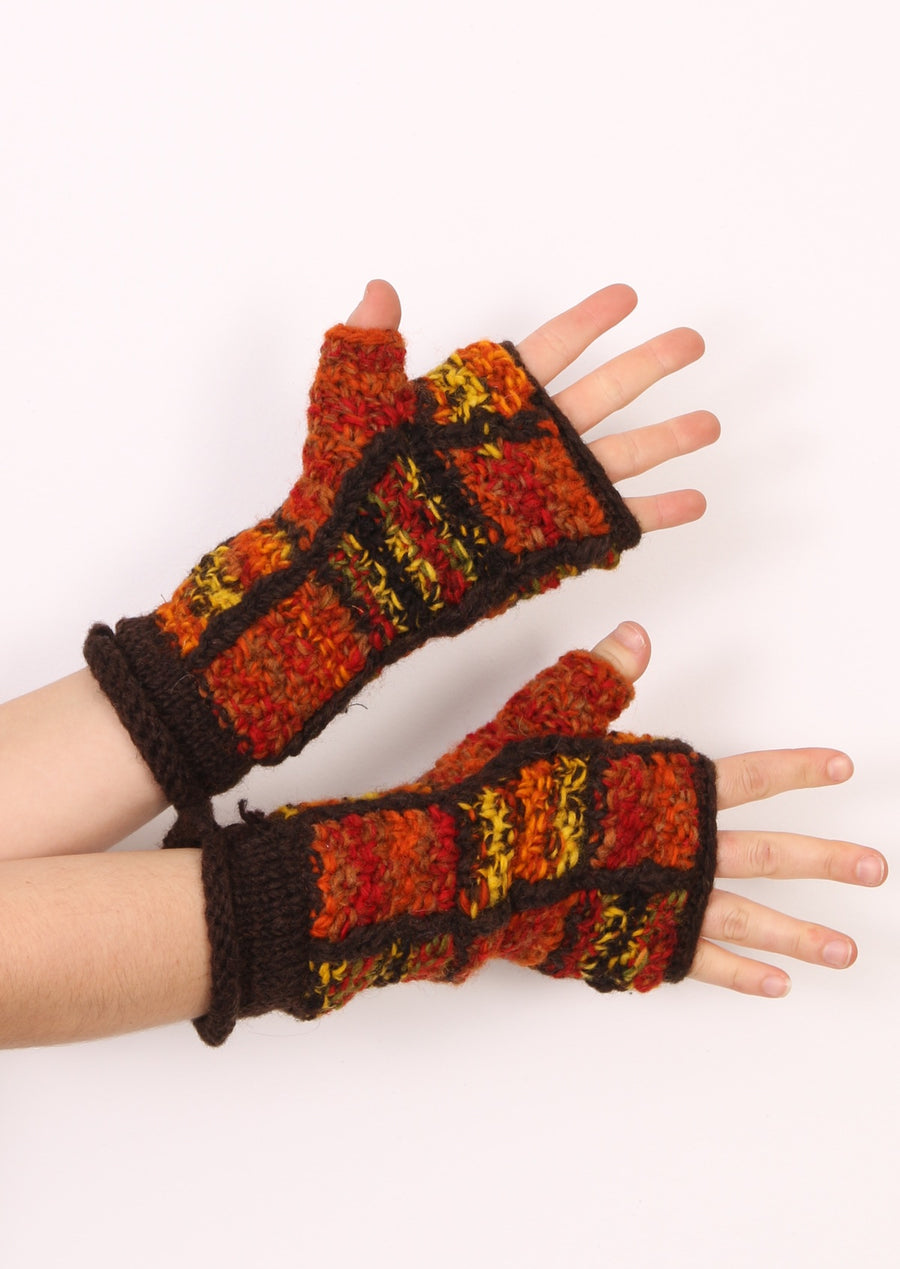 Patch Knitted Wrist Warmers Brown