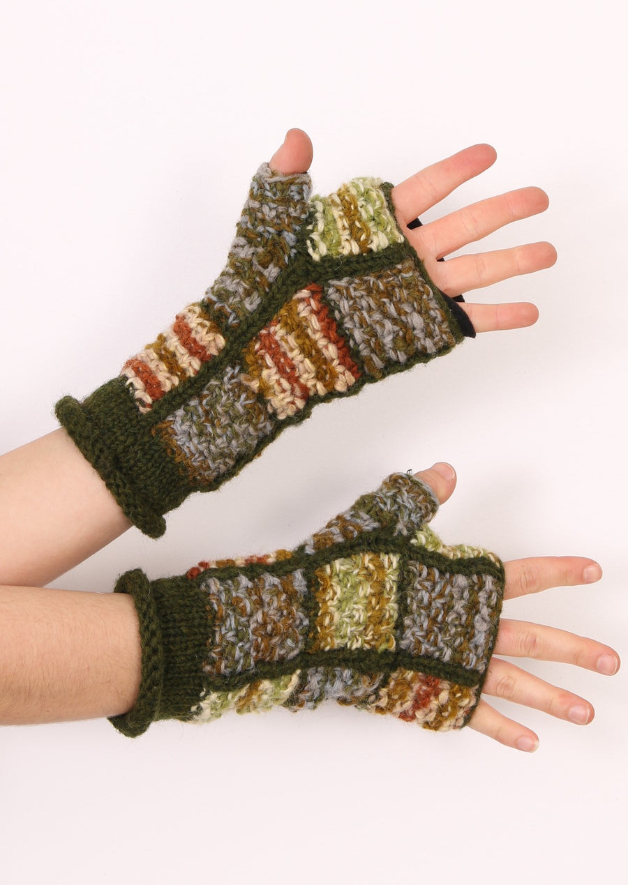 Patch Knitted Wrist Warmers Green
