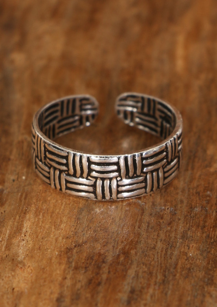 Silver Woven Toe Ring