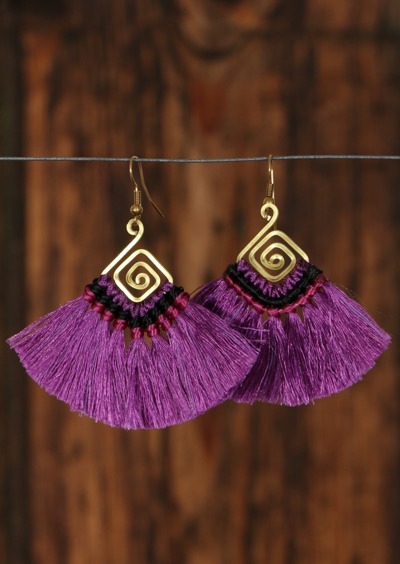 Purple Squiggle Fan Earrings