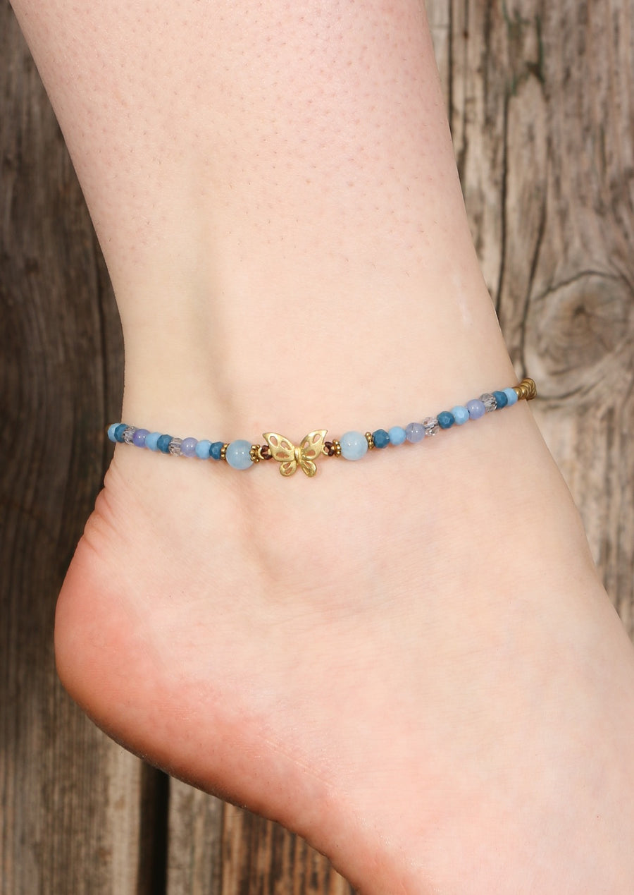 Butterfly Anklet Light blue