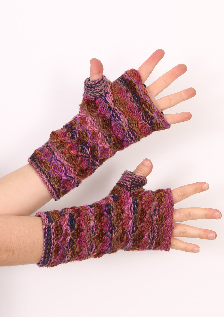 Knit Wrist Warmers Plum
