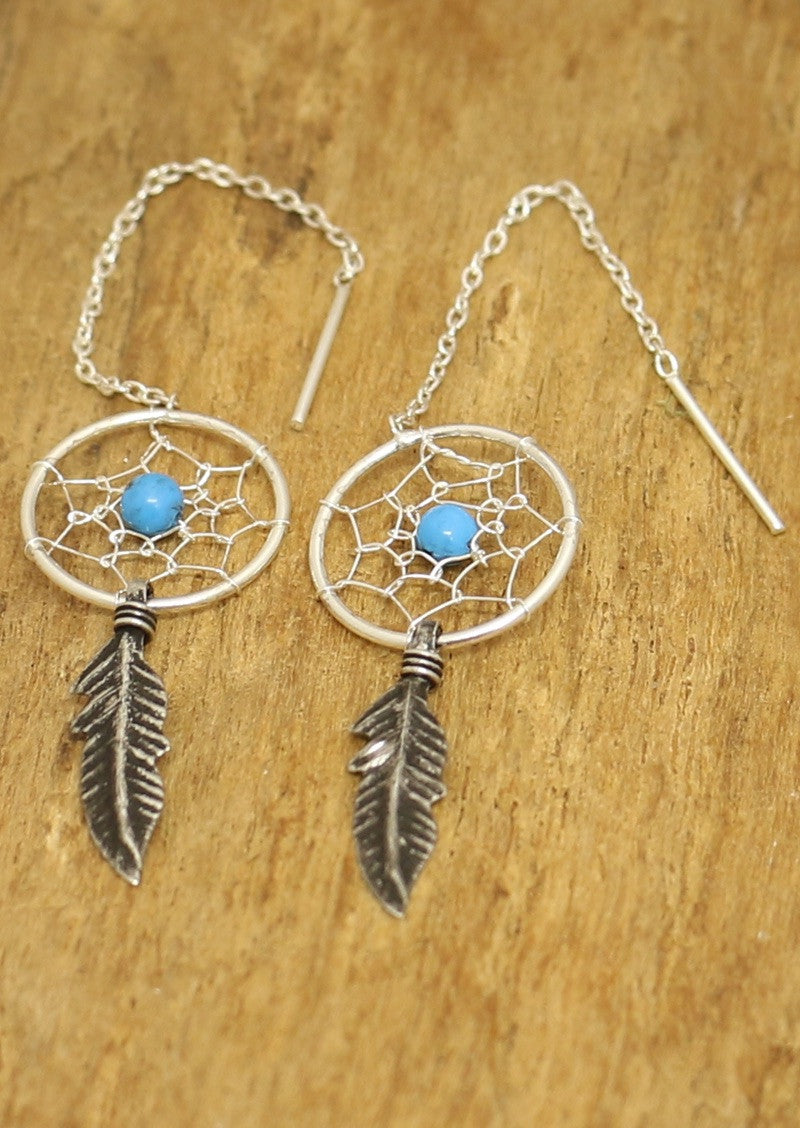 Stirling Silver Boho Gypsy Dreamcatcher Thread Earrings