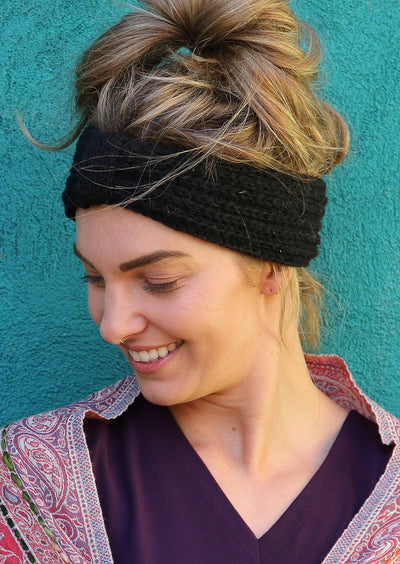 Knitted Bow Headband Black