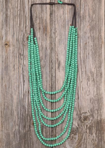 Wooden Beaded Necklace Mint