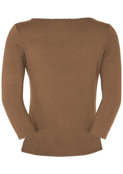 Fitted Boat Neck Top Cocoa