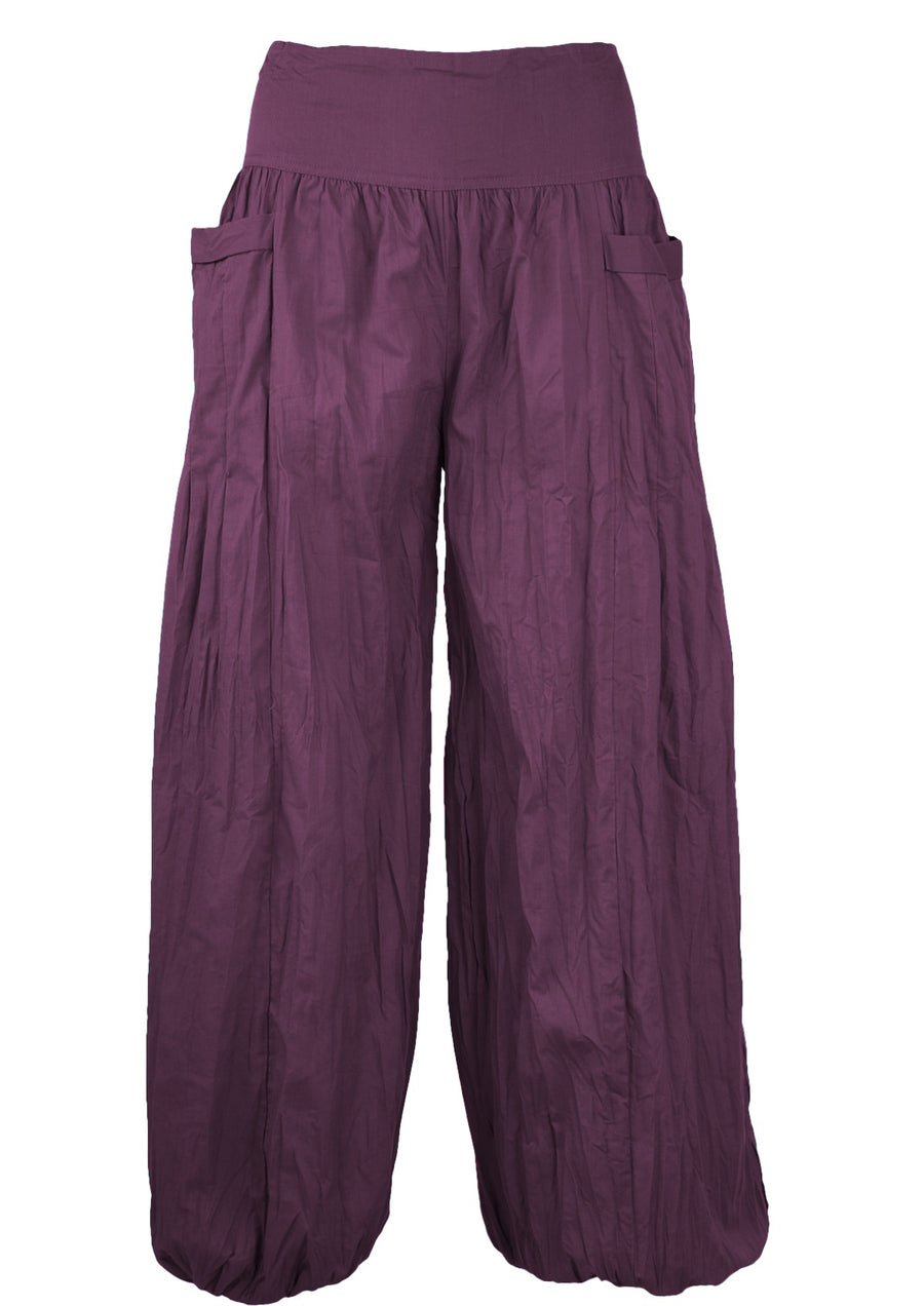 Cotton Harem Pants Purple | Karma East Australia Aubergine