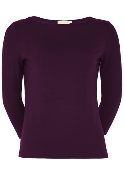 Fitted Boat Neck Top Aubergine