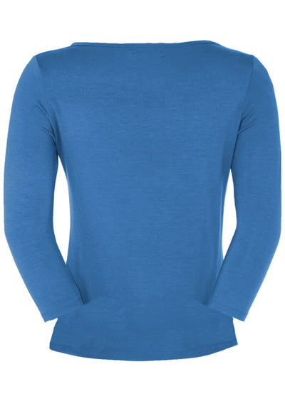 Fitted Boat Neck Top Blue
