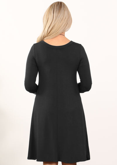 3/4 Sleeve Loose Fitted Top Black