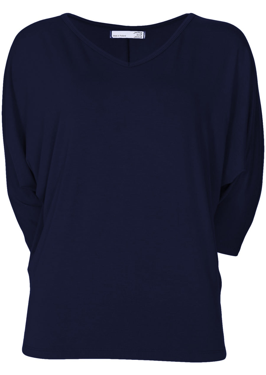 3/4 Sleeve V-neck Batwing Top Midnight