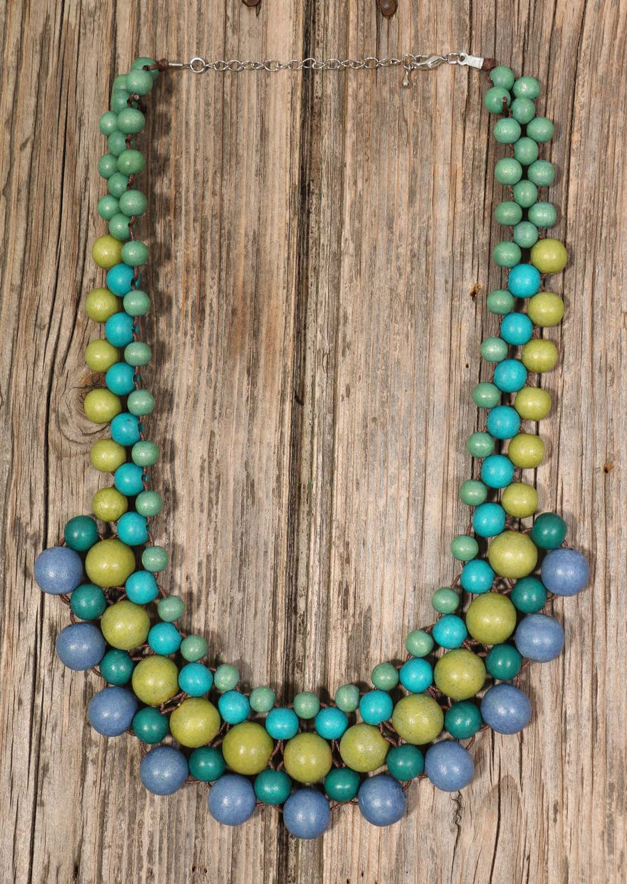 Wooden Bead Necklace Green | Karma East Australia