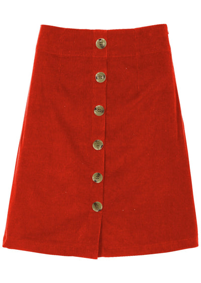 Cord Button Skirt Tabasco