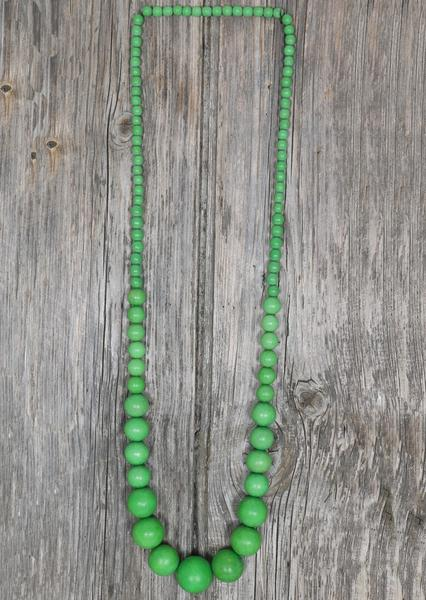 Long Wood Bead Necklace Green | Karma East Australia
