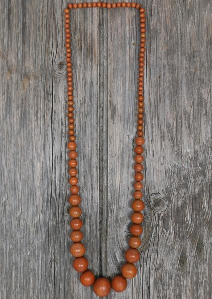 Long Wood Bead Necklace Brown | Karma East Australia